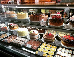 Great selection of decadent, festive cakes.